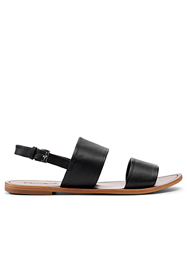 Wide leather strap sandals