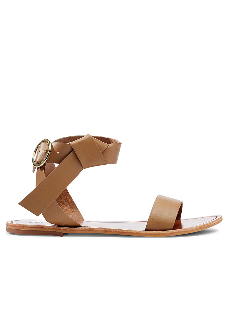 Simons Fawn Knotted strap flat sandals for women
