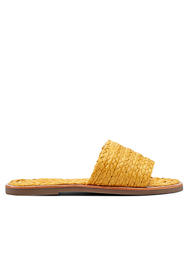 Simons Golden Yellow Raffia slides for women