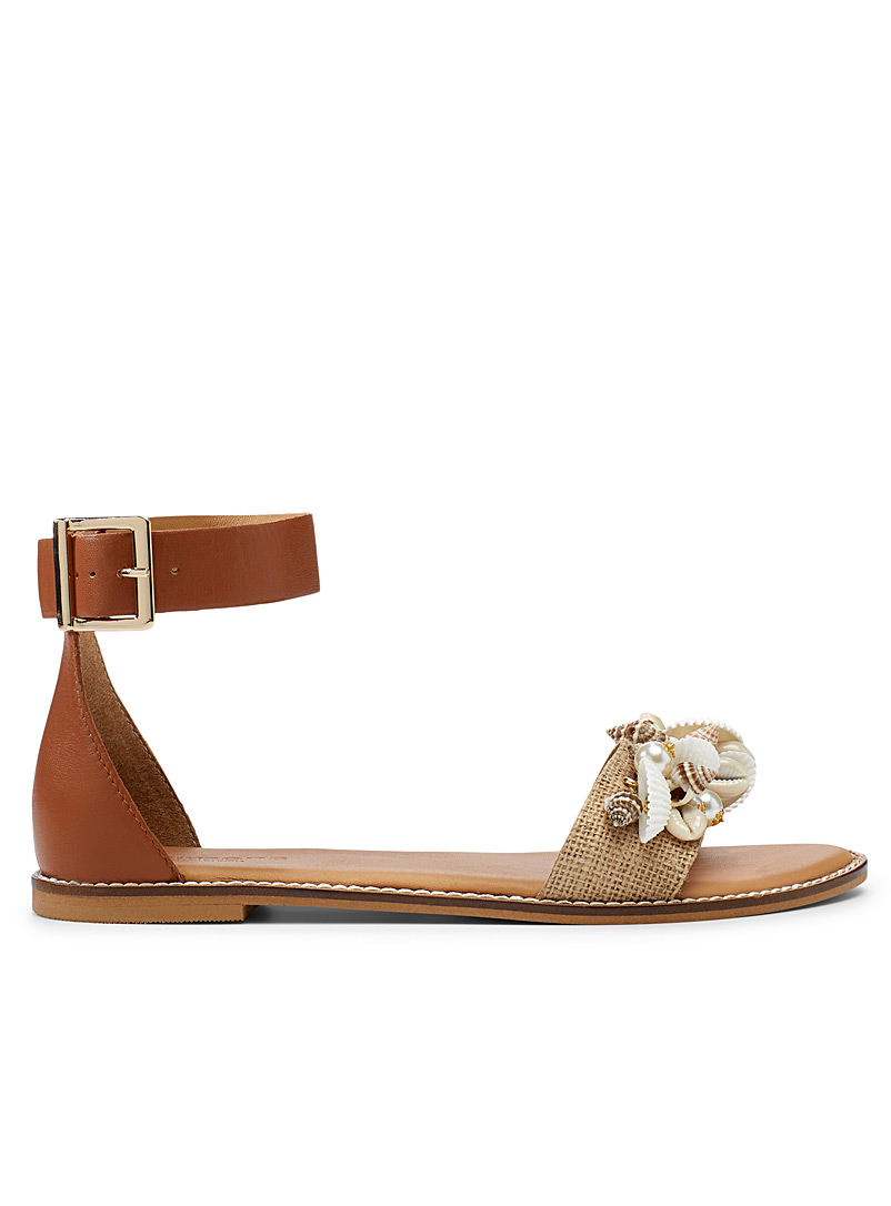 Simons Fawn Seashell flat sandals for women