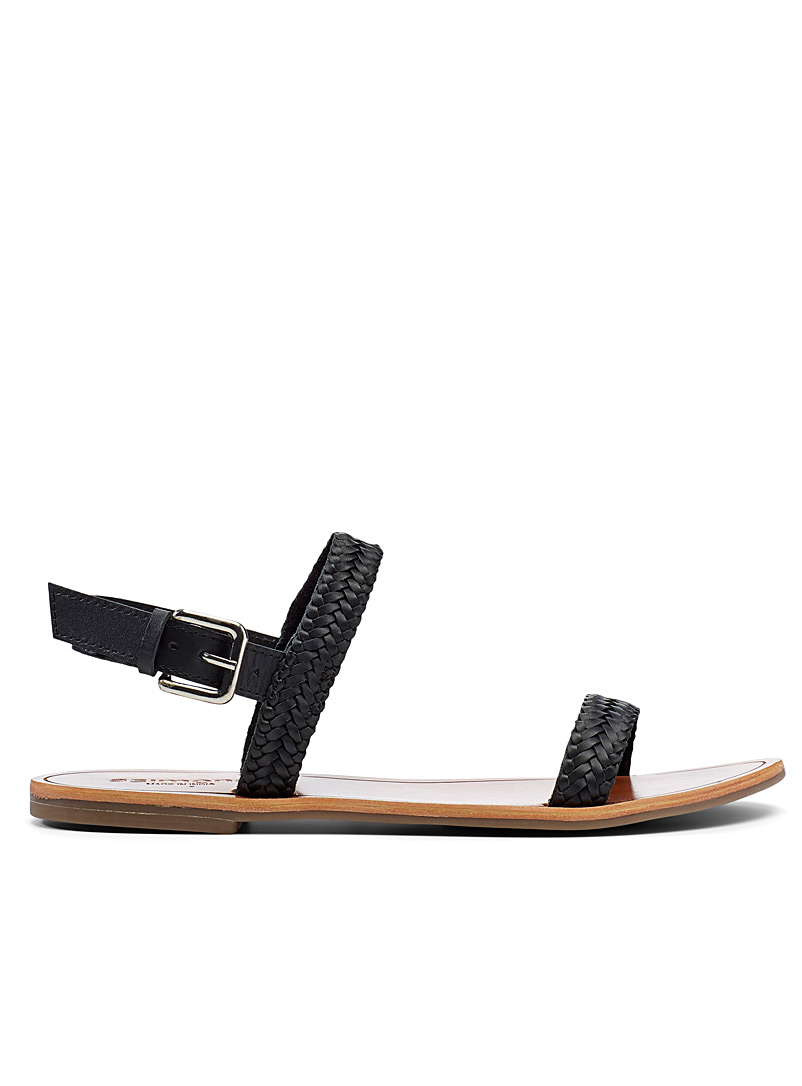 Simons Black Braided strap sandals for women