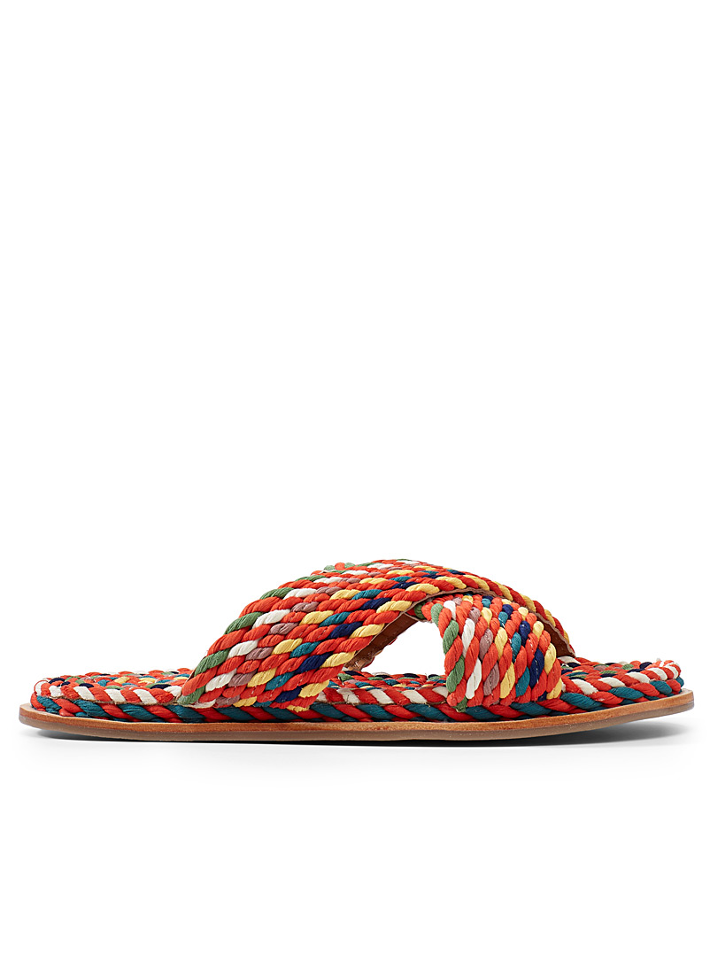 Simons Assorted Multicolour crossed sandals for women