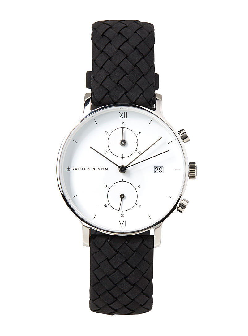 Chrono small leather watch - Watches - Black