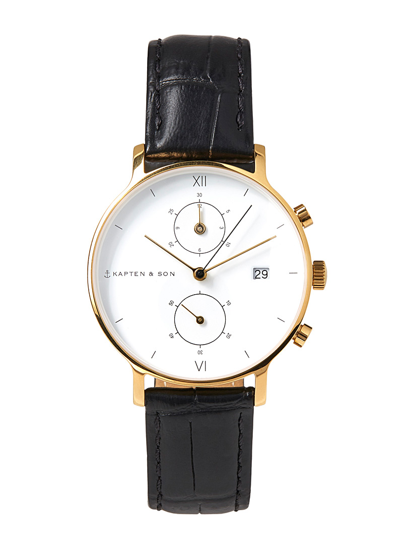 Kapten & Son Black Chrono small croc leather watch for women
