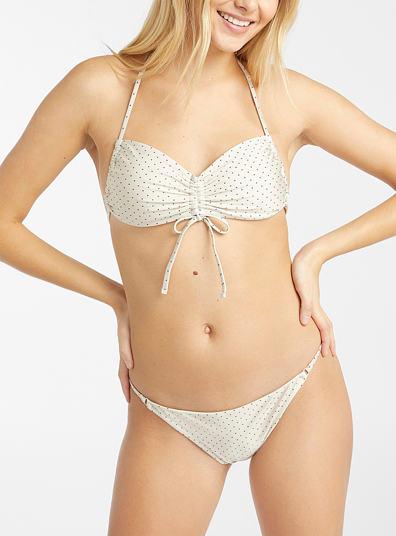 Simons Patterned White Bralette top with gathered details for women