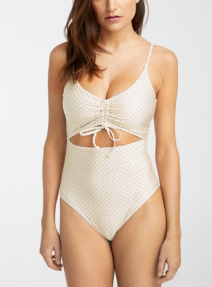 Simons Patterned White Cutout and ruching V-neck one-piece for women
