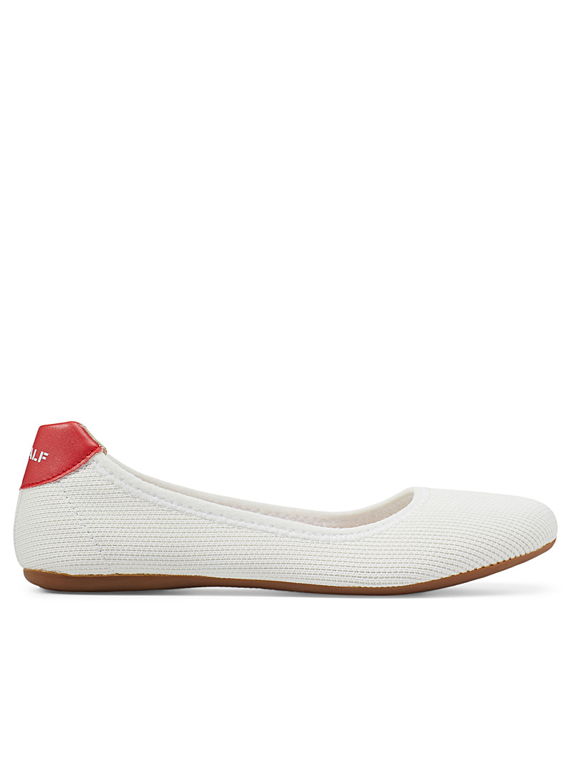 Ecoalf White Sonia recycled polyester ballet flats for women