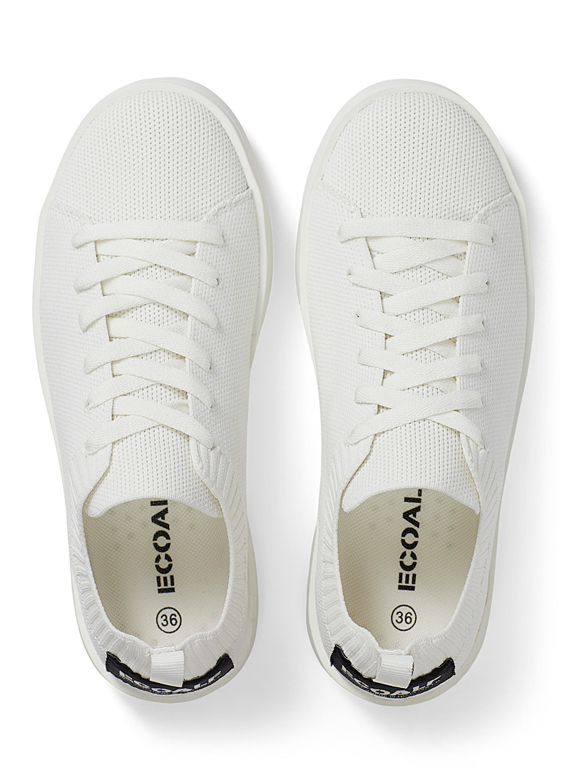 Ecoalf White Eliot recycled polyester knit sneakers for women