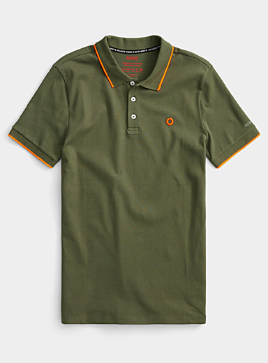 Ecoalf Khaki Neon accent piqué polo for men
