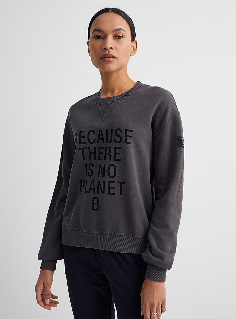 Ecoalf: Le sweat slogan Because Charbon pour femme