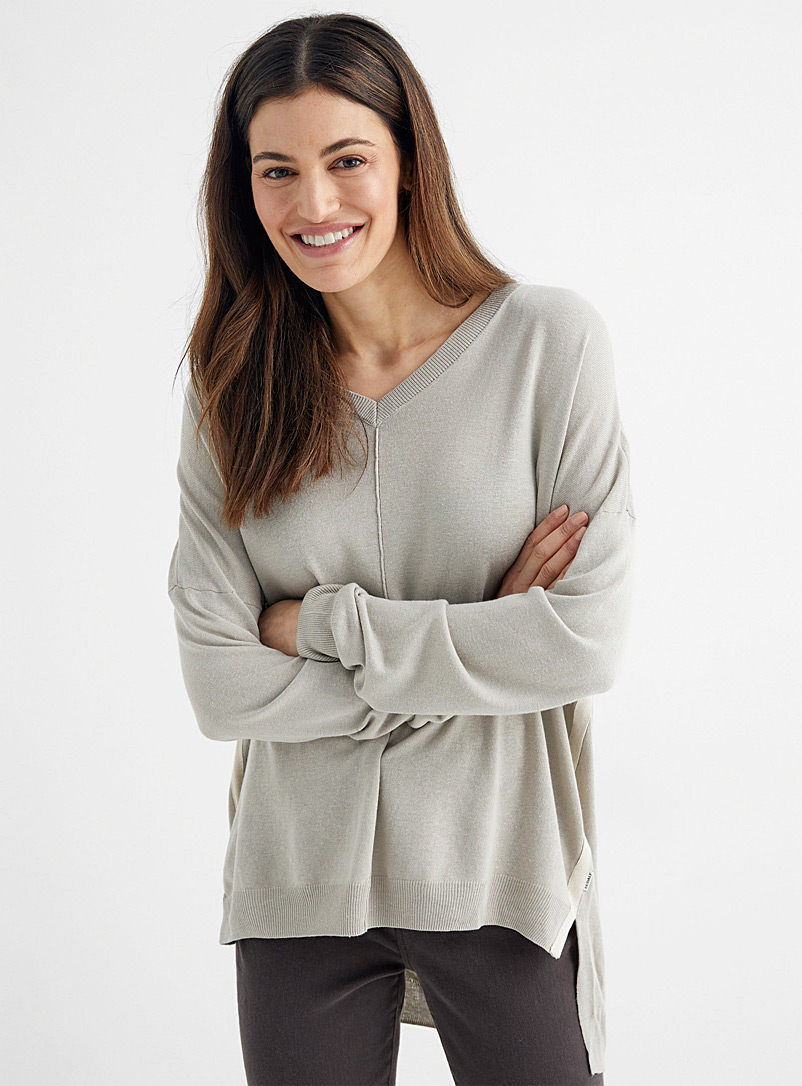 Ecoalf Grey Loose, fluid V-neck sweater for women