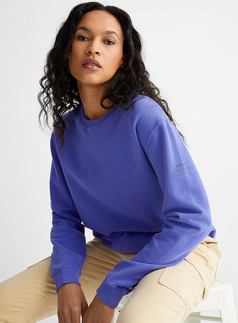 Ecoalf Sapphire Blue Message-sleeve colourful sweatshirt for women