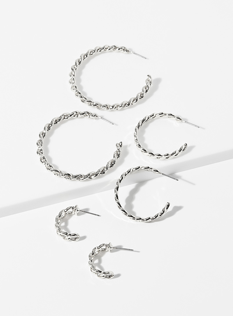 Sparkly chain hoops  Set of 3 pairs