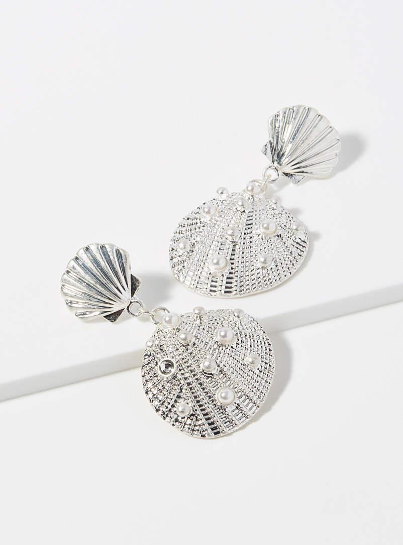 Simons Silver Pearly shell earrings for women