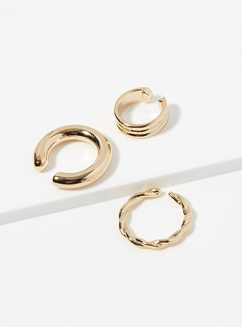 Simons Gold Minimalist ear cuffs  Set of 3 for women