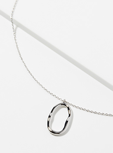 Simons Silver Oval pendant necklace for women