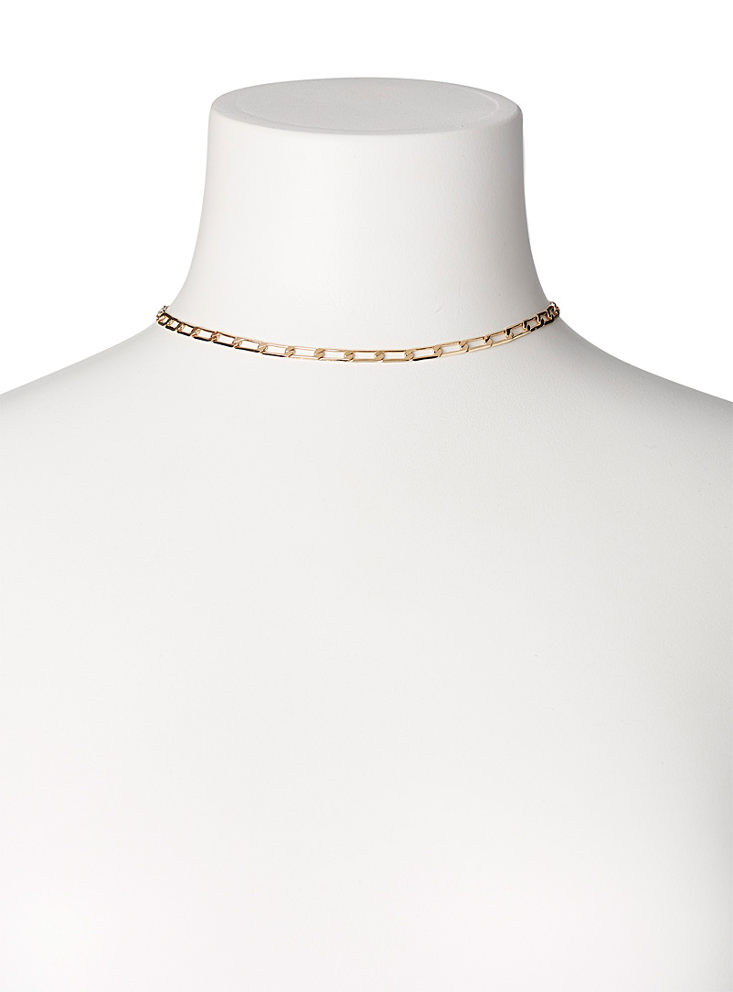 Simons Silver Cable chain choker for women