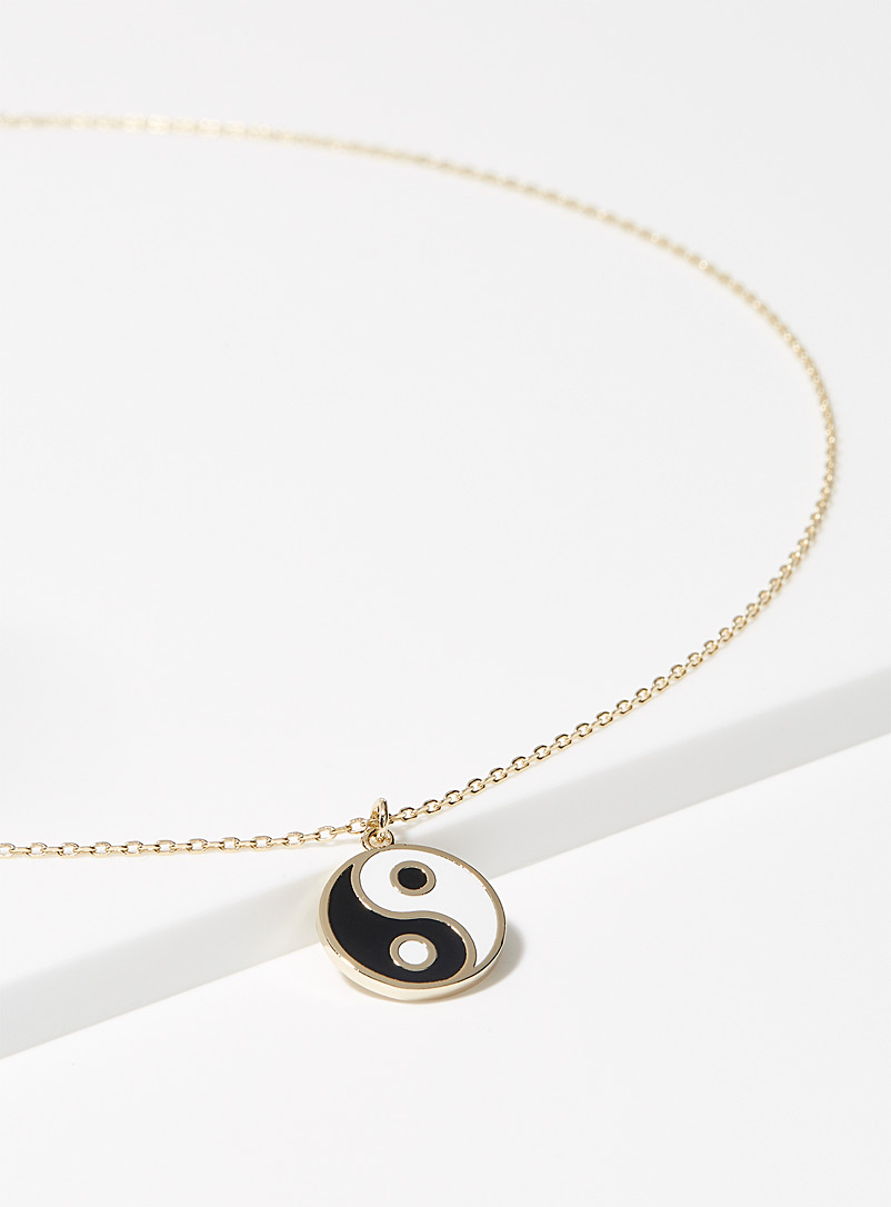 Simons Patterned Yellow Yin and yang pendant necklace for women
