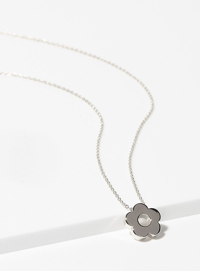 Simons Silver Floral necklace for women
