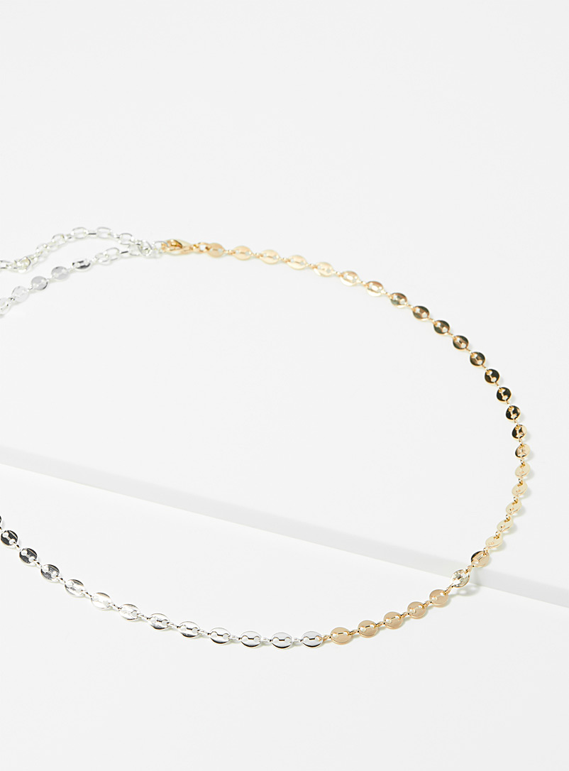 Simons Patterned Yellow Coffee bean link chain for women