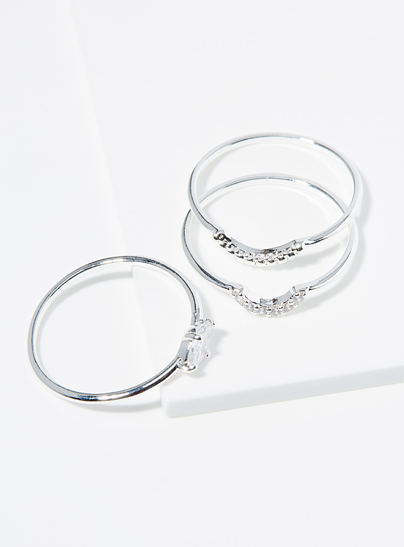 Simons Silver Thin layering rings  Set of 3 for women
