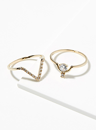 Starry V rings  Set of 2