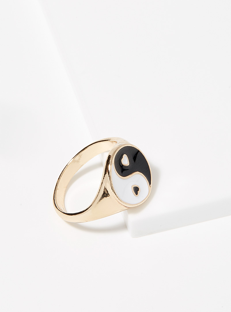 Simons Patterned Yellow Yin and yang ring for women