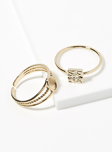 Simons Gold Monochrome geo rings  Set of 2 for women