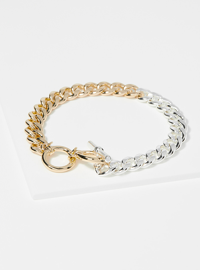 Simons Patterned Yellow Metallic duo chain bracelet for women