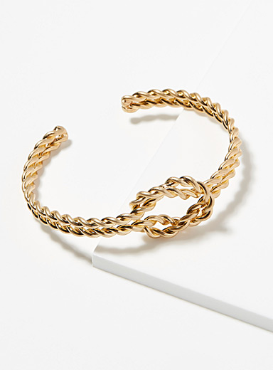 Knotted chain cuff bracelet