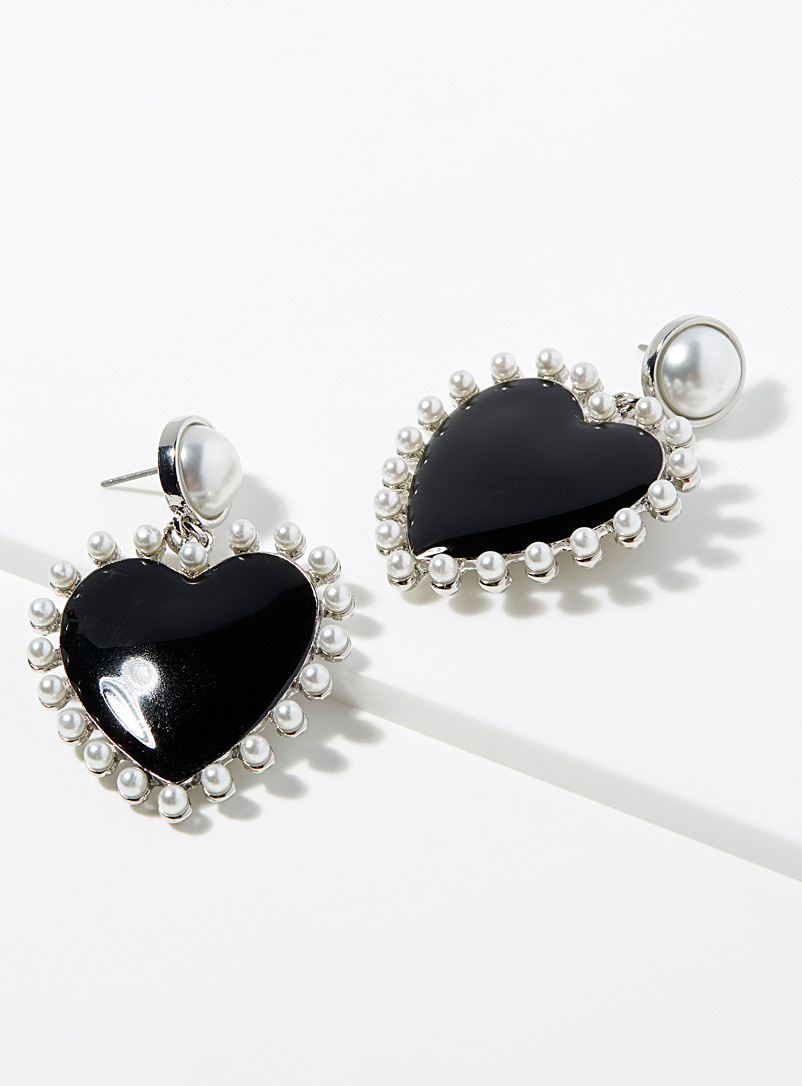Pearl and heart earrings - Earrings - Assorted black