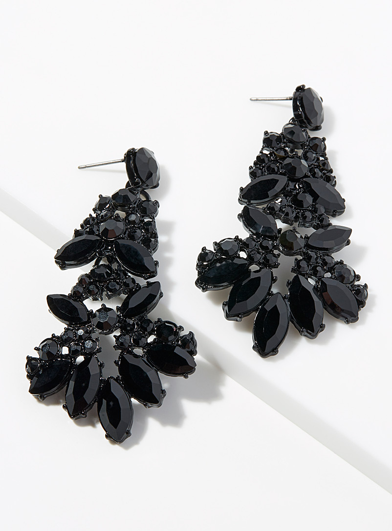 Glam crystal earrings - Earrings - Black
