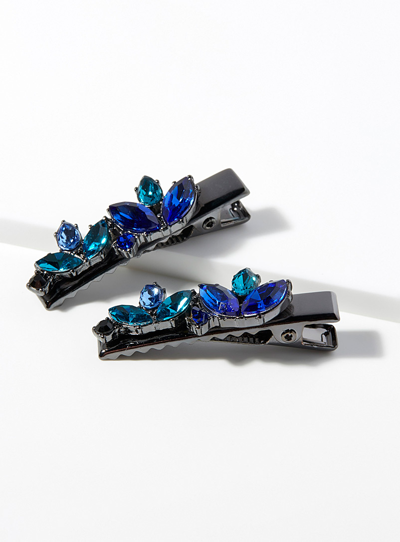 Mini crystal clips  Set of 2 - Barrettes and Clips - Assorted blue