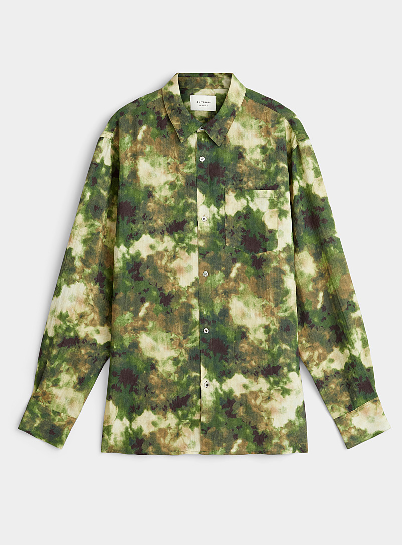 ONYRMRK Patterned Green Abstract camouflage shirt for men