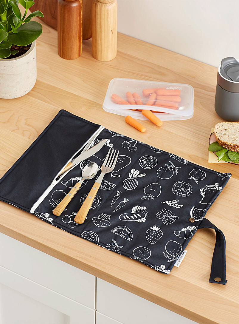 Healthy lunch recycled plastic roll-up placemat