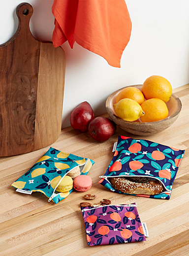 Citrus tango recycled plastic snack bags  Set of 3