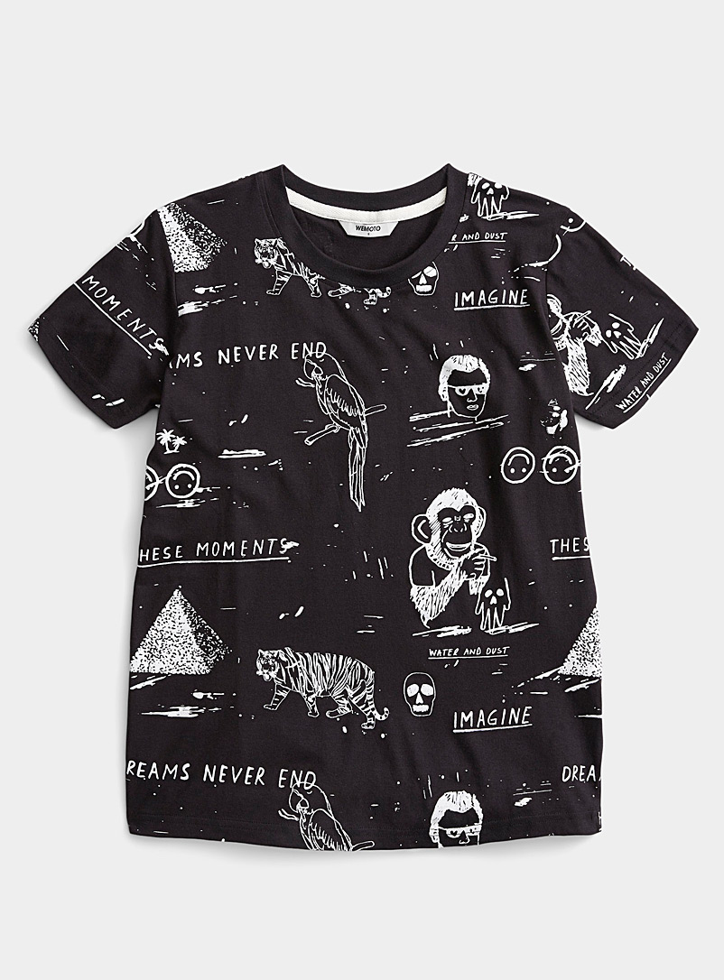 Wemoto Patterned Black Artwork drawing tee for women