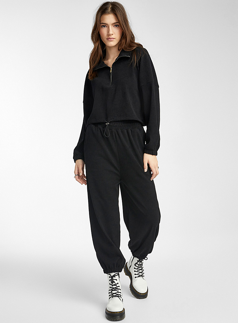 Twik Black Loose corduroy joggers for women