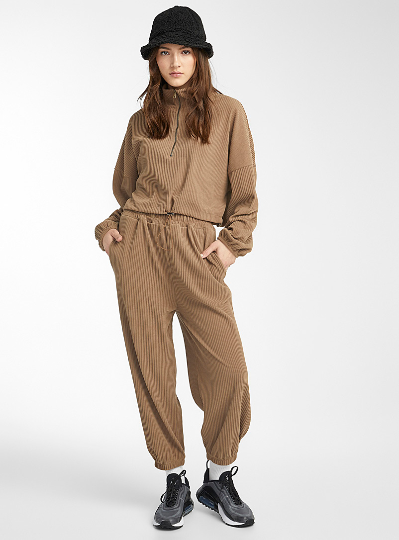 Twik Light Brown Loose corduroy joggers for women