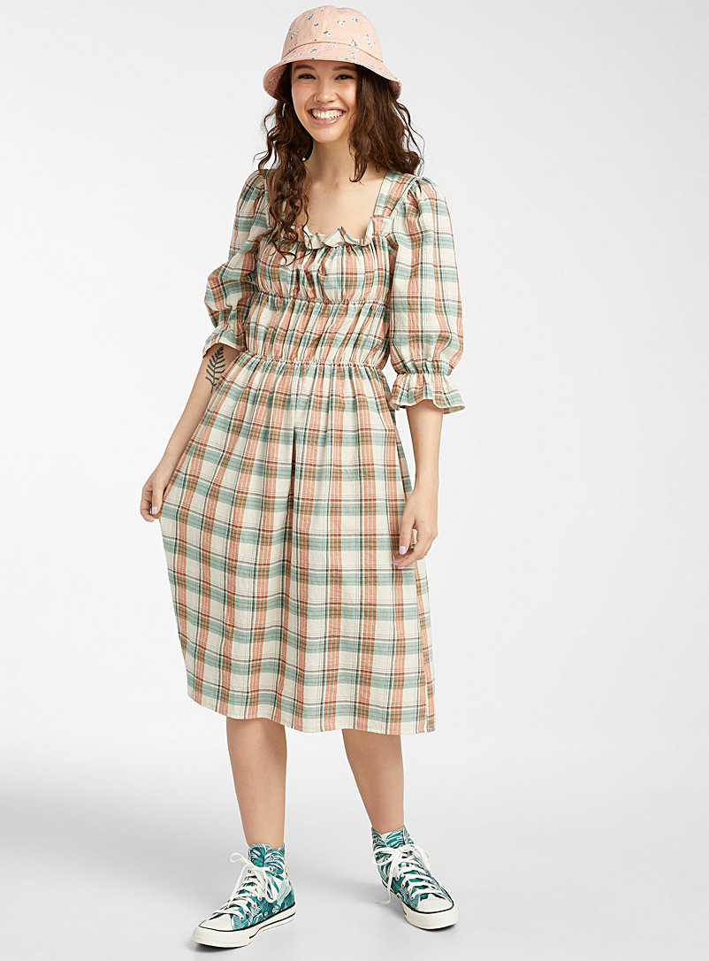 Twik Ecru/Linen Check peasant dress for women