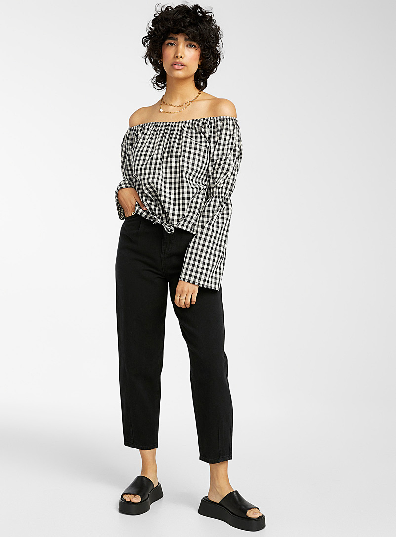 Twik Black and White Gingham off-the-shoulder blouse for women