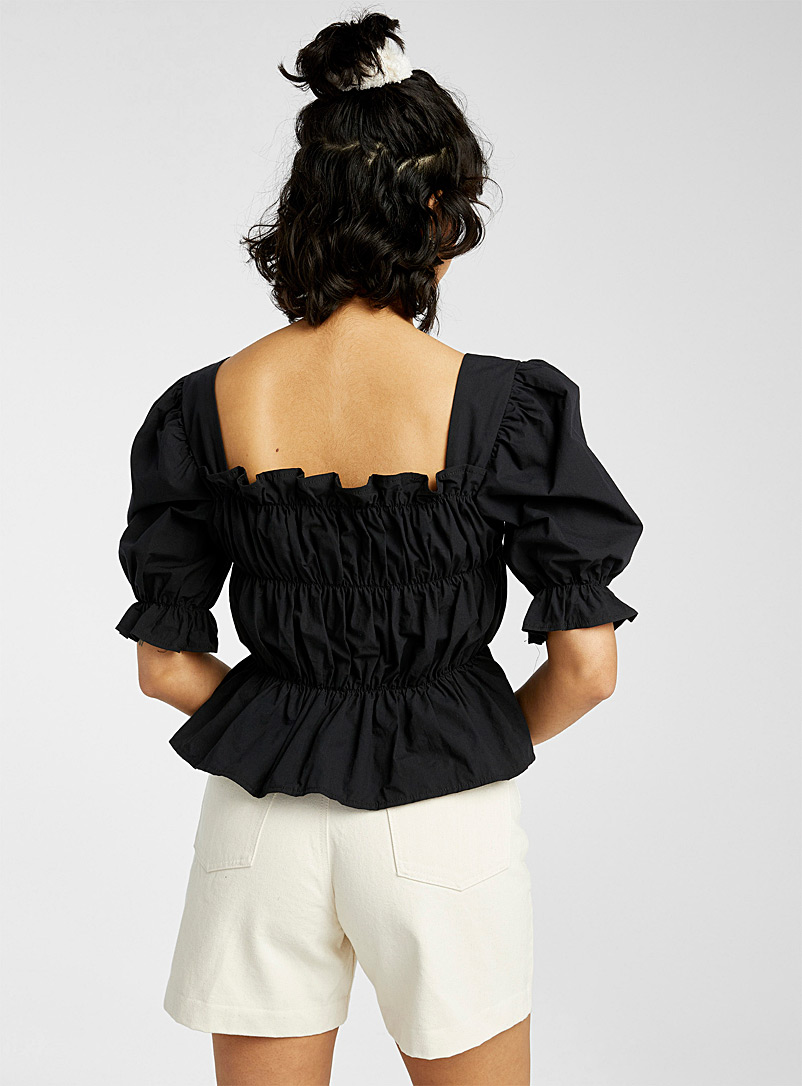 Twik Black Flared gathered peasant blouse for women