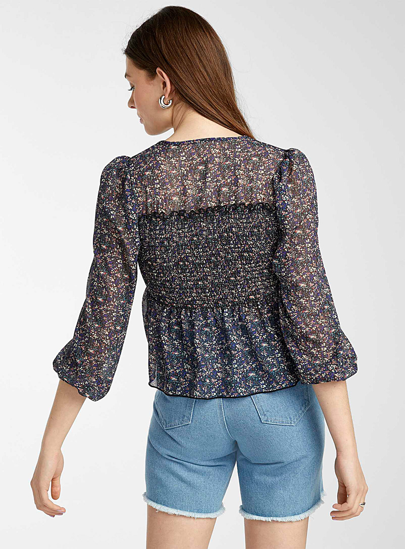Twik Assorted Smocked floral sheer blouse for women