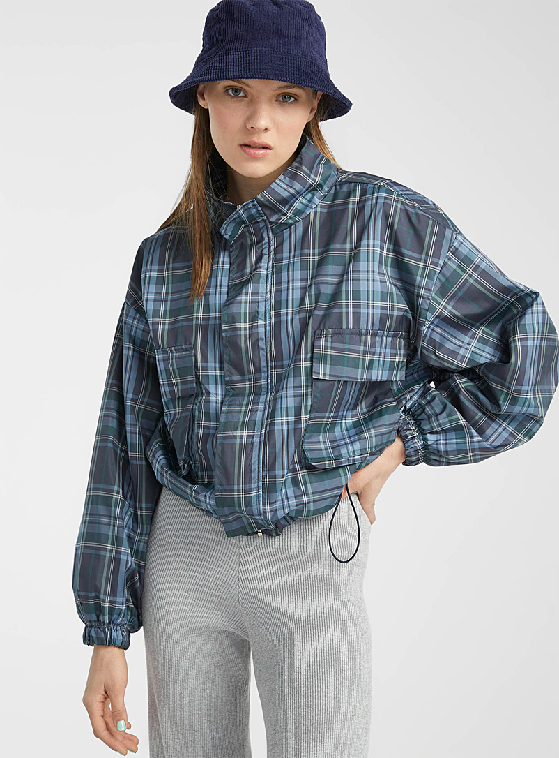 Twik Patterned Yellow Check utility jacket for women