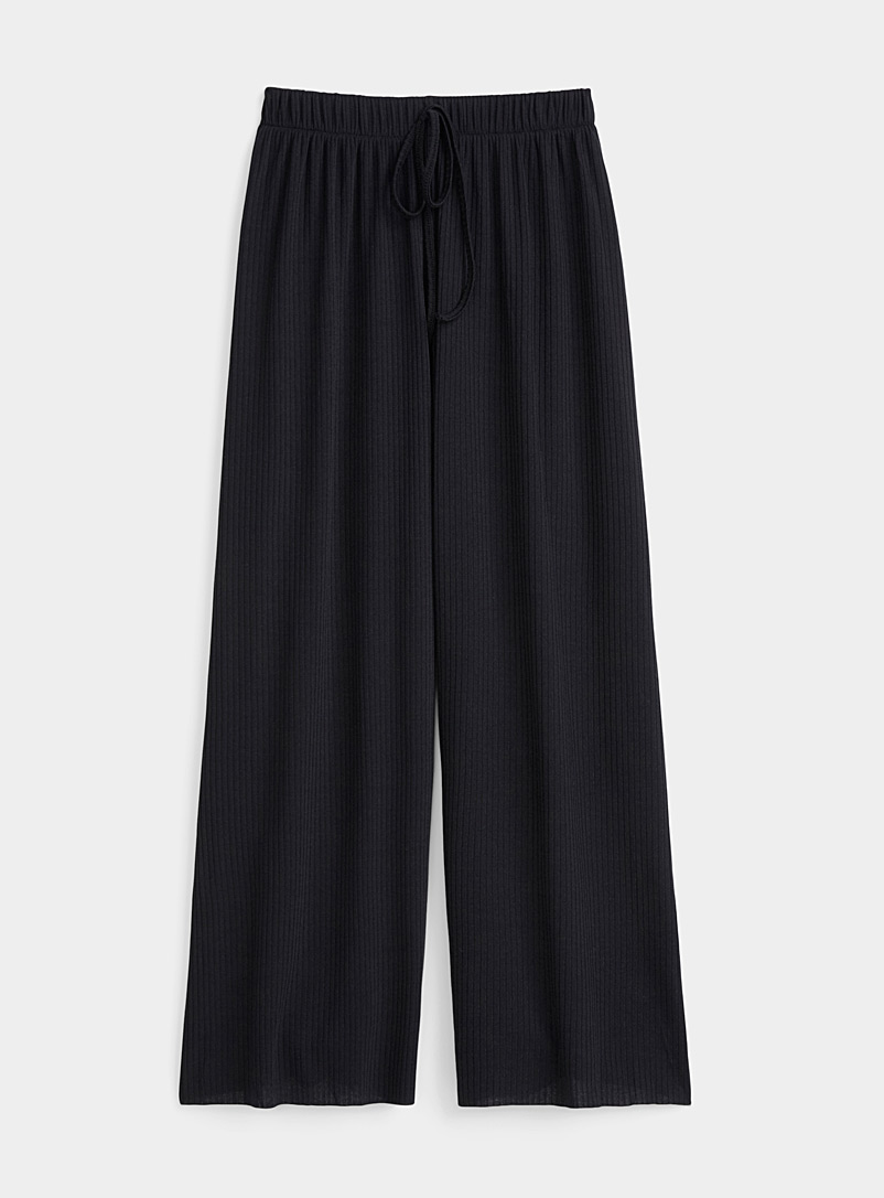 Twik Black Loose ribbed knit pant for women