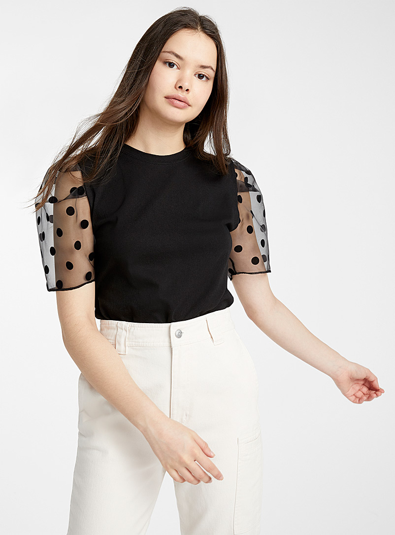 dotted-tulle-sleeve-tee