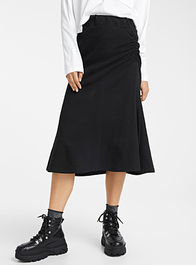 Pleated sweat skirt