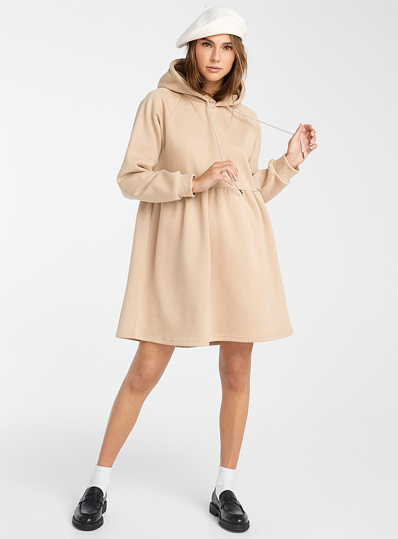 Twik Cream Beige Hooded babydoll sweatshirt dress for women