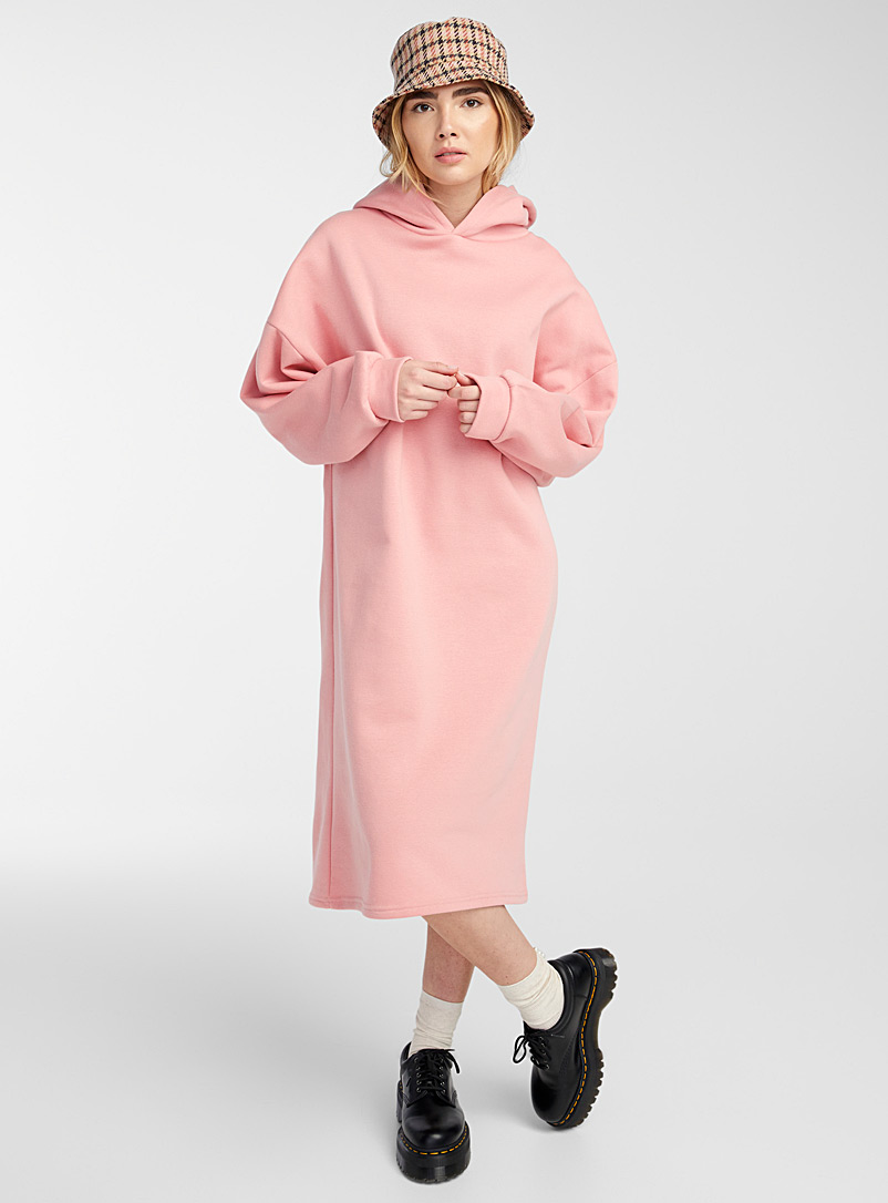 Twik Dusky Pink Soft cotton fleece hoodie maxi dress for women