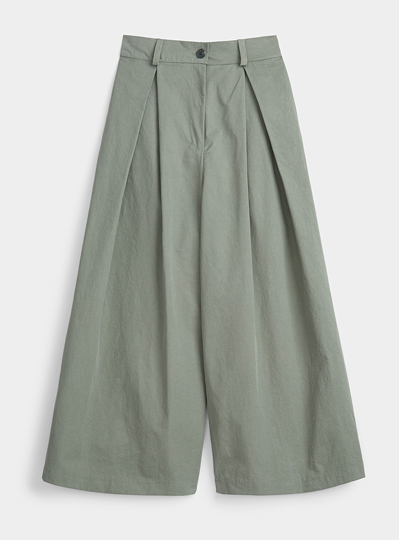 Twik Mossy Green Loose box pleat pant for women